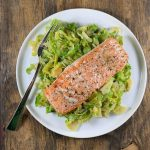 Brussels Sprouts Hash with Roasted Salmon