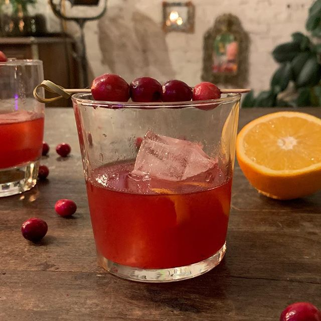 Cranberry sauce replaces the sugar cube or simple syrup in a traditional Old Fashioned to make this festive spirit-forward cocktail to brighten up the holidays. . Cranberry Old Fashioned 2 ounces Bulleit Bourbon 1 heaping tablespoon cranberry sauce 1 tablespoon fresh-squeezed orange juice 2 dashes Angostura bitters Ice Fresh cranberries and orange peel for garnish . Add bourbon, cranberry sauce, orange juice and bitters to a cocktail shaker. Add ice and shake to break up the cranberry sauce. Strain into a rocks glass over two large ice cubes. . Garnish with fresh cranberries and an orange peel. Serve. . For the cranberry sauce: 12 ounces cranberries 1 cup sugar 1/4 cup fresh-squeezed orange juice . Add orange juice, cranberries and sugar to a small saucepan. Stir over medium-high heat until sauce begins to bubble and cranberries pop. . Keep stirring and break up cranberries, smashing with the back of a wooden spoon. Turn down heat and simmer until all cranberries are broken up. Transfer to a glass bowl and let cool on the counter for about 30 minutes. Store in an airtight container in the refrigerator until ready to use. . . .