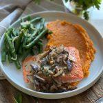 Salmon with Creamy Mushroom-Herb Sauce