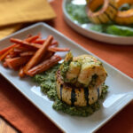 Roasted Delicata Squash Stuffed with Shrimp & Baby Kale Pesto