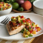 Spice-Rubbed Grilled Salmon with Fruit Trio Salsa